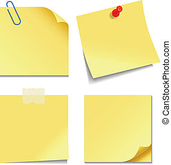 Sticky Notes - Set of yellow sticky notes isolated on white...