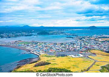 Jeju city, South Korea - view from Sunrise Peak Jeju island...