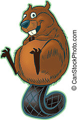 Cute Beaver Balancing on tail - A cute, happy cartoon beaver...