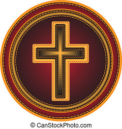 Embroidered button Religious cross.Vector