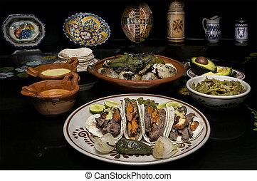 cena, mexicano, carne de vaca,  Taco