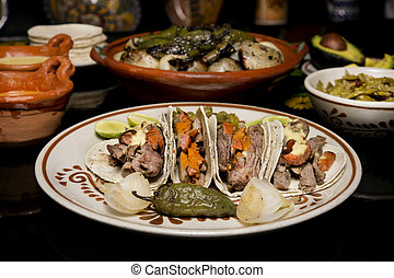 mexicano, tradicional, carne de vaca, Taco, cena