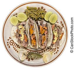 cima,  Tacos, mexicano, carne de vaca, vista
