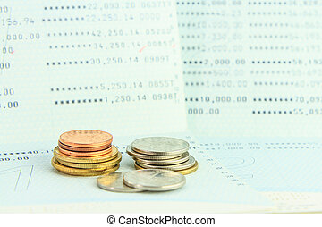 Coins on account passbook