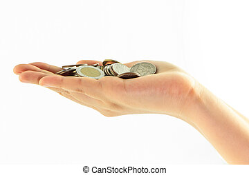 Coins on hand isolate on white background