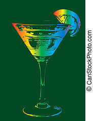 mix color cocktail glass vector art
