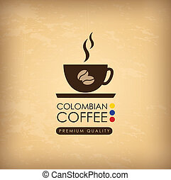 colombian coffee over vintagebackground vector illustration