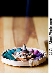Incense cones and holder