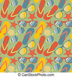 Seamless pattern with flip flops, sunglasses and starfish -...