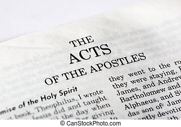 Book of Acts - A macro detail of the book of Acts in the...