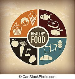 food - healthy food over vintage background vector...