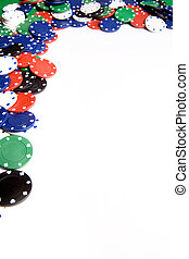 Casino Chip Background - White casino chip background with...