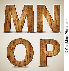 Grunge Wooden Alphabet Letters M, N, O, P. Vector