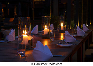 Outdoor restaurant tables setting