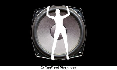 sexy gogo dancer inside a hifi speaker, dancing and grooving...