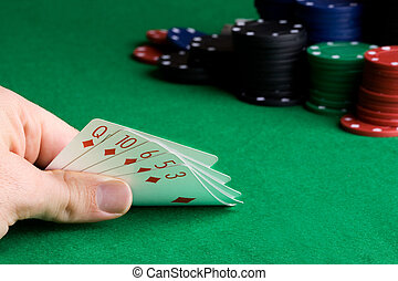 Flush - a poker hand with all of one suit