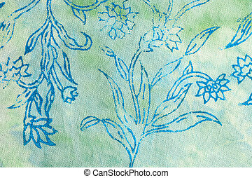 Silk batik with abstract flowers