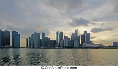 Singapore City at Sunset Timelapse - Singapore Cityscape...