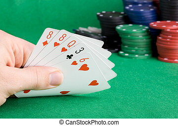One Pair - A poker hand with one pair - a poker player...