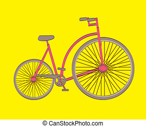 antique bicycle over yellow background vector illustration