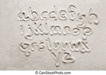 Sand Alphabet - lower case alphabet written in sand - a...