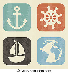 nautical elements over white background. vector illustration