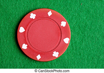 Red Poker Chip - A red $5 poker chip