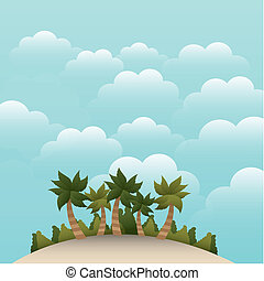 island background - island with beatiful sky and palms...
