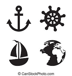 nautical elements over white background vector illustration