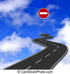 Road, red stop road sign and blue sky. Vector illustration...