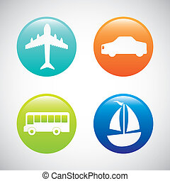 transport icons over gray background vector illustration