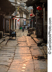 Traditional chinese village street view in the south of...