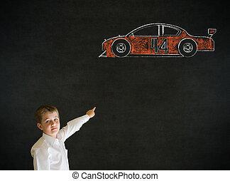 Pointing boy business man with Nascar racing fan car -...