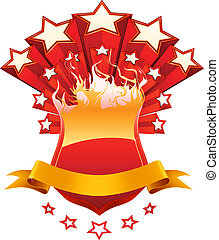 Isolated red emblem, vector