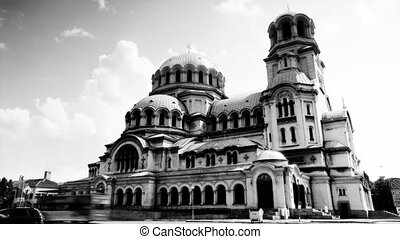 timelapse shot of Alexander Nevsky church in central sofia,...