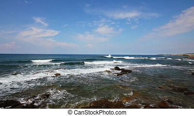 mediterranean sea with waves landscape in Turkey