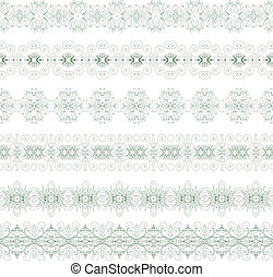Ornamental floral seamless pattern - Set of floral borders...