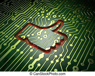 Social media concept: Like on circuit board background