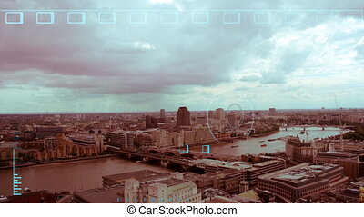 view of the london skyline from st paul's cathedral, with overlayed motion graphics data