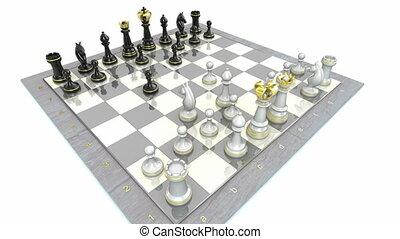 ajedrez, tabla, juego, animación