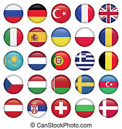 European Icons Round Flags, Zip includes 300 dpi JPG,...