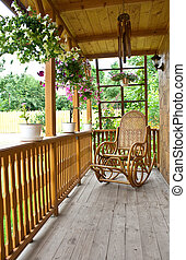 Countryside - Wooden porch in the city of Iasi, Romania