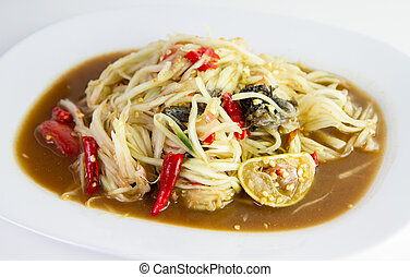 Thai papaya spicy salad or Som-Tum
