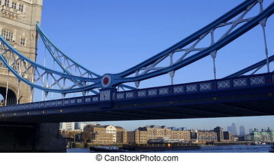 timelapse panning shot of tower bridge in london, on a nice...