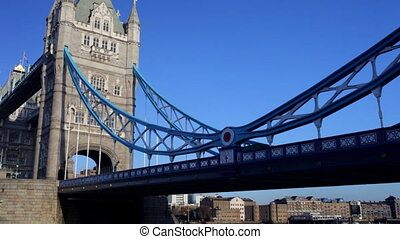 panning shot of tower bridge in london, on a nice sunny day, london