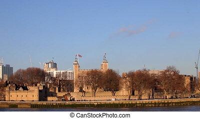 panning shot of london skyline, on a nice sunny day, london