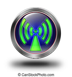 WLAN glossy icon - aluminum, steel, chromium, glossy, icon,...