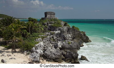time-lapse of the mayan ruins at tulum, mexico. the mayans...