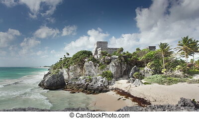 time-lapse of the mayan ruins at tulum , mexico. the mayans...