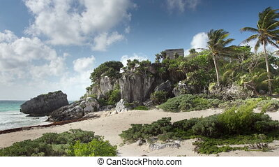 time-lapse of the mayan ruins at tulum , mexico the mayans...